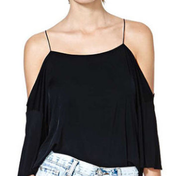 Black Cut-out Sleeve Chiffon Top