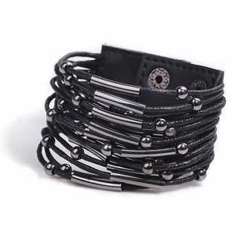 Black punk style leather bracelet = 1932497988