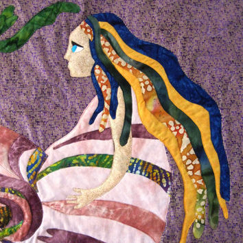 Wall Hanging Mermaid Quilt Art Applique Sea Witch Batik Blue Purple Gold Green