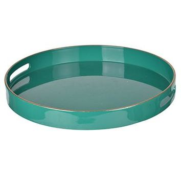 "Round High Gloss Lacquered Tray in Turquoise with Gold Trim - 14.5"" Diameter x 1.75"" Depth"