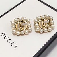 GUCCI New fashion more pearl earring Golden