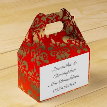 Orange yellow and gold damask wedding favor box