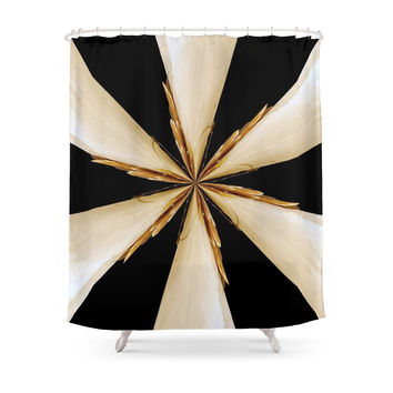 Society6 Black, White And Gold Star Shower Curtains