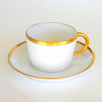 Antique Art Deco Cup & Saucer Hand Painted White Porcelain Gold Trim Signed