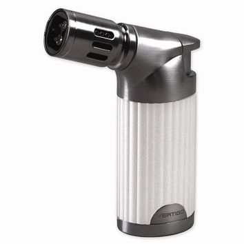 Vertigo Champ White Pearl And Gunmetal  Quad Flame Table Torch Lighter