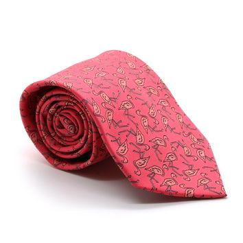 Flamingo Pink Necktie with Handkerchief Set