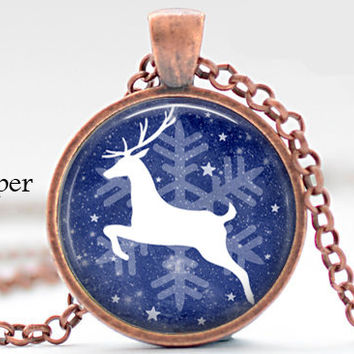 christmas white reindeer silhouette running in snow pendant/ dark blue glass cabochon dome photo pendant necklace jewelry christmas gift