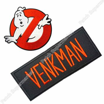 GHOSTBUSTERS NO GHOST MOVIE LOGO VENKMAN NAME UNIFORM COSTUME IRON ON PATCH SET EMBLEM, Free shipping