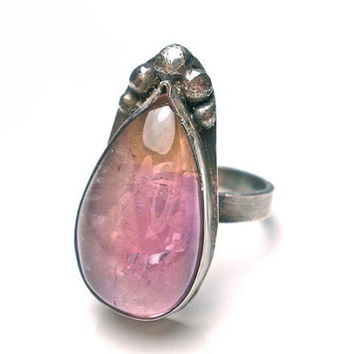 Tear Drop Ametrine Gemstone Ring Hand Fabricated in Stelring Silver- Amethyst and Citrine- OOAK Size 7
