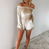 Full Of Dreams Romper: Champagne