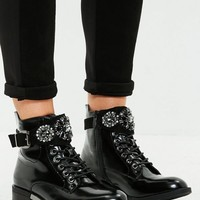 Missguided - Black Embellished Buckle Cuff Biker Boots