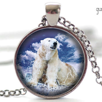 Polar Bear Necklace, Polar Bear Jewelry, White Polar Bear Pendant, Your Choice of Finish (1841)