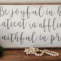 Be Joyful In Hope Framed Sign 2'x4'|Handpainted|Wood Sign|Scripture|Romans 12:12|Faith|Distressed|Rustic