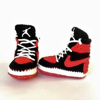 Air Jordan Baby Crochet Sneakers, Nike Air Jordan Shoes, Red Air Jordan House Shoes, N