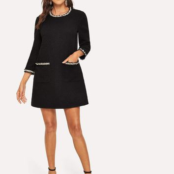 Pearl Beading Pocket Front Tweed Tunic Dress