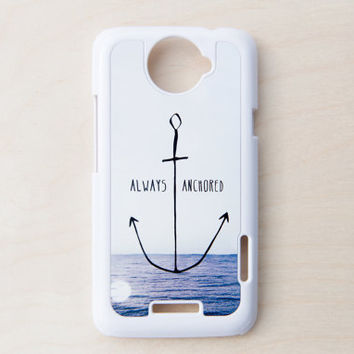 Nautical Anchor HTC One X Case New Cell Phone Quote Blue Beach Ocean Bokeh