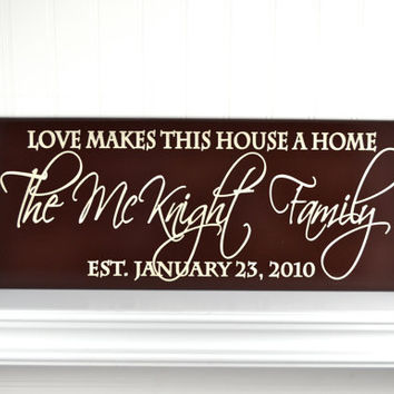 Family Name Sign with Wedding Date and Quote - Personalized Carved Wood Established Plaque