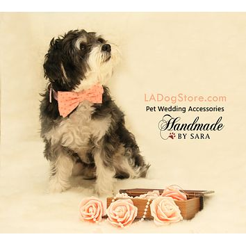 Peach dog bow tie attaches to collar, dog lovers, peach wedding accessory