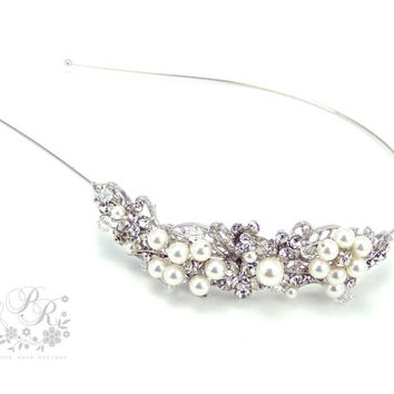 Wedding Hair band Rhinestone Swarovski Pearl by PureRainDesigns