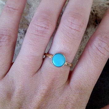 SALE! Gold Turquoise Ring ,Gemstone Ring,Hammered Band,Stacking Ring,December Birthstone,Gold Stackable Ring