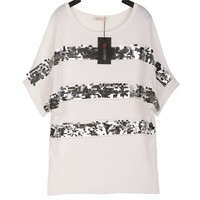 Cotton  Round Neck Short Sleeve Sequins Stripped Loose Black T-Shirt S/M/L/XL@A4006b