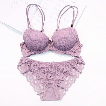 Sexy lace embroidery flowers thin thick double shoulder strap bra set deep V-neck thickening women's push up underwear