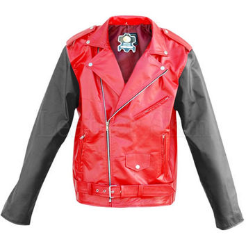 Red Brando Quilted Leather Jacket