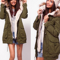 Women Faux Fur Coat Pockets Hooded Autumn Winter Basic Jacket Coat Outwear