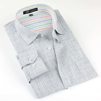 New Men's Casual Long Sleeve Slim Fit Linen Button Down Shirt
