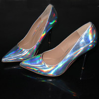 Womens Stunning Chrome Reflective High Heels