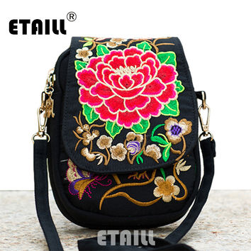 Hmong Ethnic Boho Hobo Embroidery Shoppers Bag Women's Shoulder Brand Messenger Bags Logo Indian Thailand Embroidered Handbag
