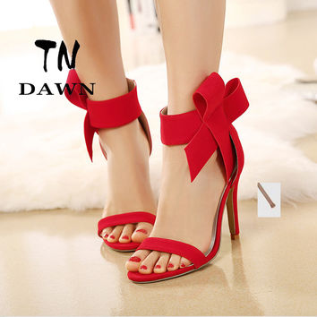 2017 Sweet Fashion Sandals Women Shoes Lady Evening Royal Footwear Big Bow Tie Pumps Sexy Open Toe Flock High Heels Party Shoes