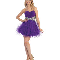 2013 Prom Dresses - Purple Chiffon Ruffled Short Prom Dress - Unique Vintage - Prom dresses, retro dresses, retro swimsuits.