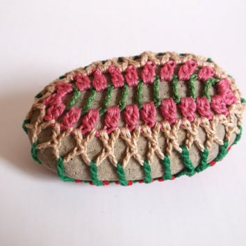 Crocheted Garden Stone, Lace Stone, Pink Tan Green, Teacher Gift, Tabletop Decor, Hippie Gift, Bohemian Home, Mandala Rock, Pebble Sweater
