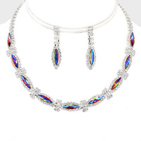 """12"""" silver crystal necklace 1.35"""" earrings prom bridal pageant"""