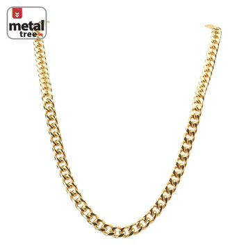 Jewelry Kay style Men's 10 mm Heavy 14K Gold Plated Stainless Steel Cuban Link Chain Necklace 30""