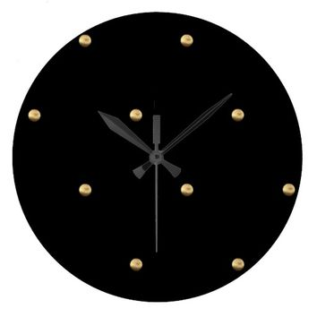 Black and Gold Look Polka Dot Pattern Elegant Large Clock