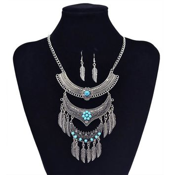 Bohemian Gypsy Vintage Silver Plated Carving Flower Green Stone Bead Leaf Tassel Charm Necklace Earrings Jewelry Set for Women