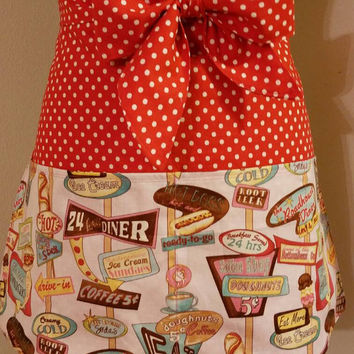Diner - waitress - route - 66 - pinup - rockabilly - 50's - retro - vintage - style - half - apron - with - pockets