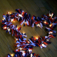 Red, White and Blue Patriotic Fabric Lighted Garland - Handmade in Pennsylvania - Duquesne Dorm Decor