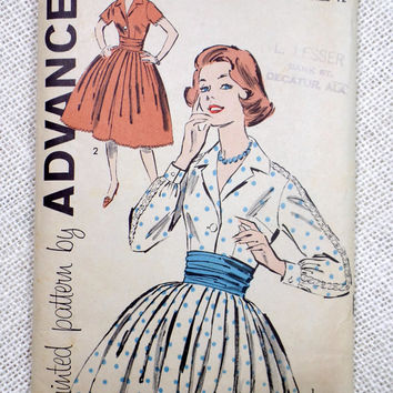 Vintage Pattern 1950s Advance 9350 Bust 32 Dress Rockabilly Sewing Full skirt Shirtwaist Sewing June Cleaver long sleeve short Cummerbund