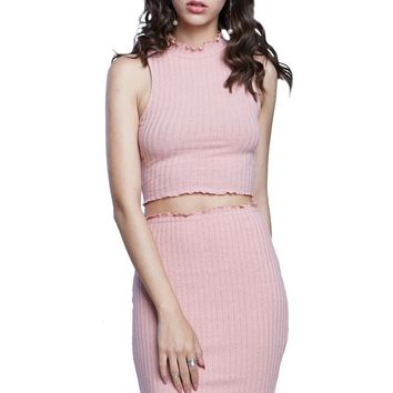 Blush Madness Lettuce Edge Ribbed Crop Top