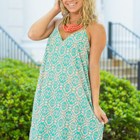 Carefree To Be Dress, Teal-Peach