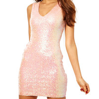 Pink Sleeveless Mini Sequined Dress