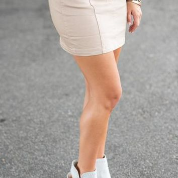 Sleek And Sweet Skirt, Light Khaki