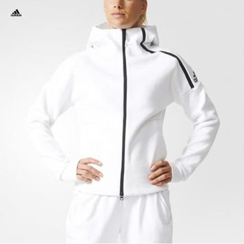 """Adidas ZNE"" Women Sports Casual Knit Long Sleeve Zip Cardigan Hooded Sweater Sweatshi"