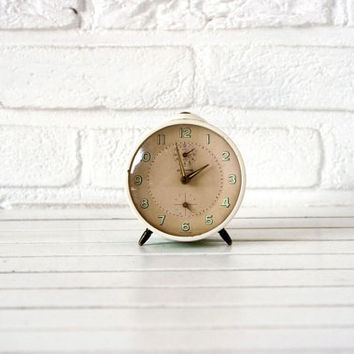 Vintage German Alarm Clock Beige Green and Cream