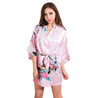 Silk Satin Short Kimono Robe Night Robe Bath Robe Fashion Dressing Gown For Women