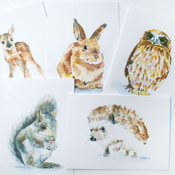 Woodland Animals Watercolor Note Card Set