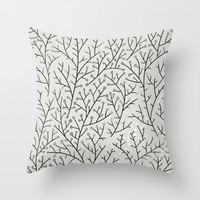 Berry Branches – Silver & Black Throw Pillow by Cat Coquillette